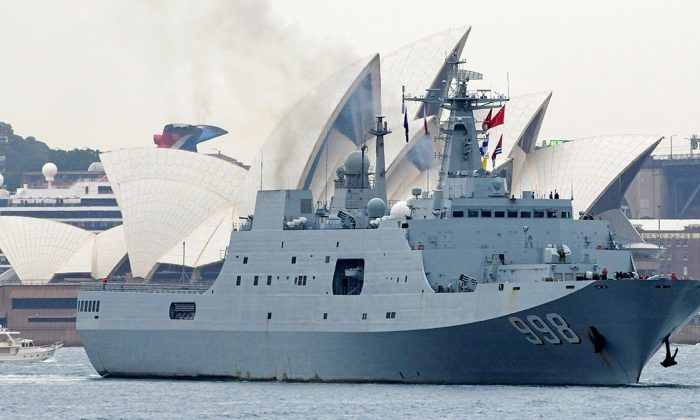 Chinese naval ship Kunlun Shan departs the Garden Island Naval Base in Sydney, Australia, on June 7, 2019. (AAP Image/Bianca De Marchi/via REUTERS)