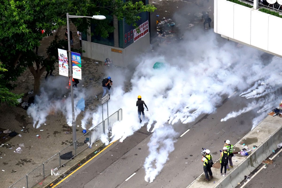 tear gas hong kong protest