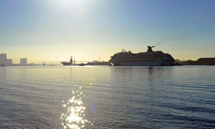 File photo of a cruise ship being towed in San Diego, Calif. (Kevork Djansezian/Getty Images)