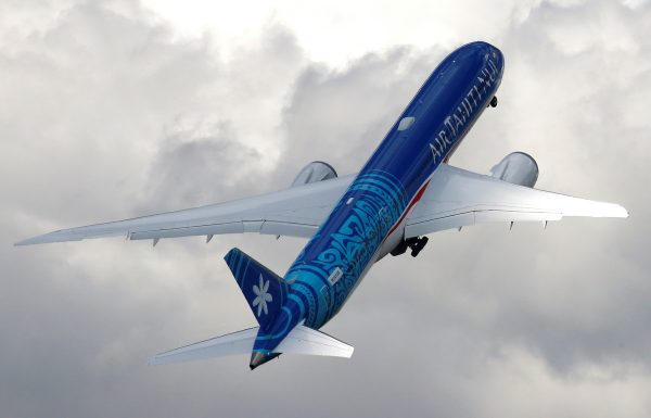 An Boeing 787-9 Dreamliner of Air Tahiti Nui company performs during the 53rd International Paris Air Show