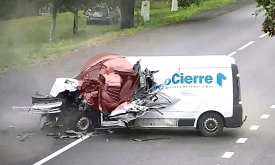 Driver Escapes Death After Falling Asleep and Crashing Head-On Into Huge Truck