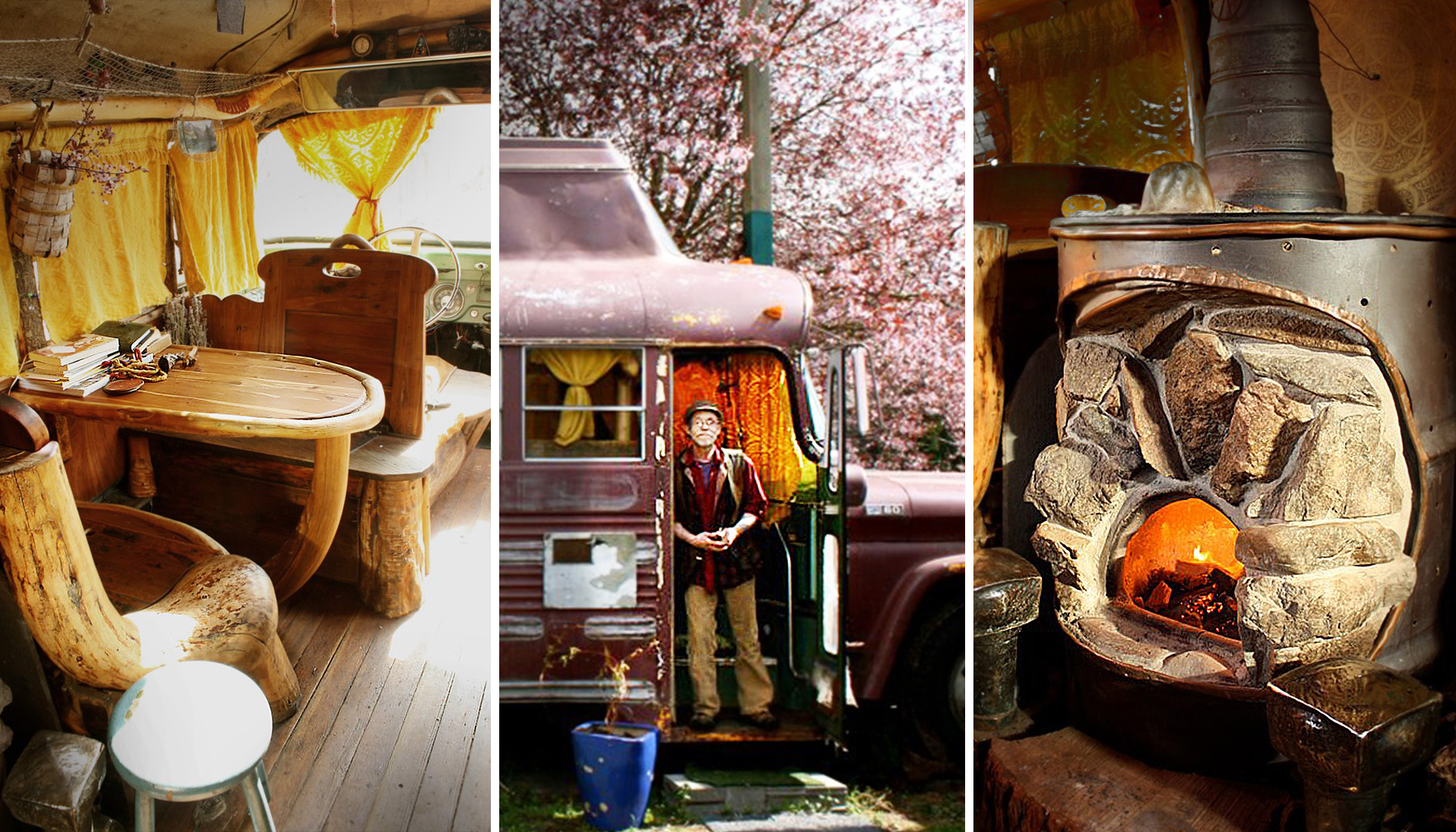 Retired Man Converts Old Beat-Up Bus Into Super-Cozy 'Hobbit Hole' on Wheels