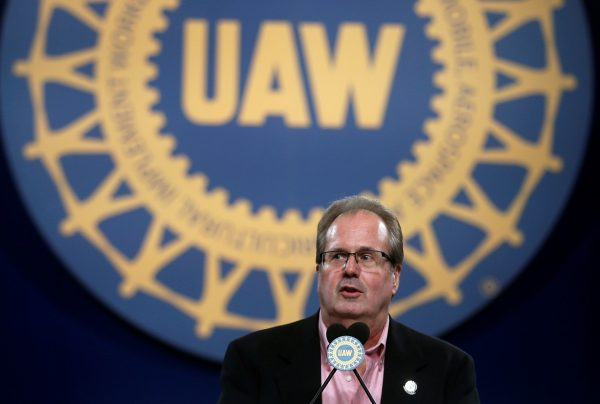 United Auto Workers (UAW) union President Gary Jones addresses UAW delegates at the 'Special Convention