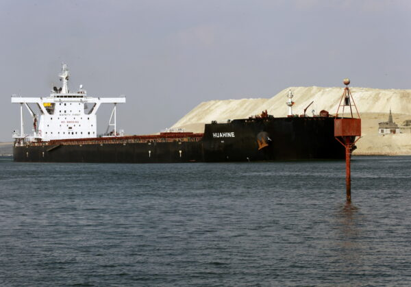 ship sailing through Suez Canal