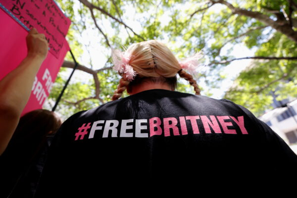 A person protests in support of pop star Britney Spears