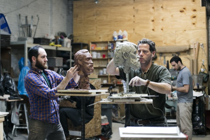 Artists Brendan Johnson (L) and Jacob Collins, founder of Grand Central Atelier in Queens, New York, on March 7, 2016. (Samira Bouaou/Epoch Times)