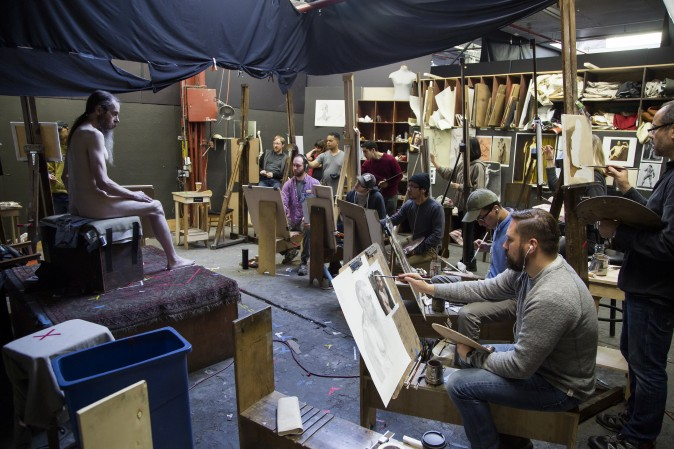 Students at the Grand Central Atelier in Queens, New York, on March 6, 2017. (Samira Bouaou/Epoch Times)